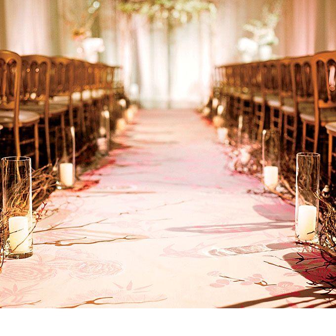 Branches flanked the aisle. Photos by Lisa Lefkowitz.: Aisle Runners, Decor Ideas, Wedding Flowers, Aisle Markers, Centerpieces Wedding, Pillar Candles, Ceremony Ideas, Aisle Decor, San Francisco