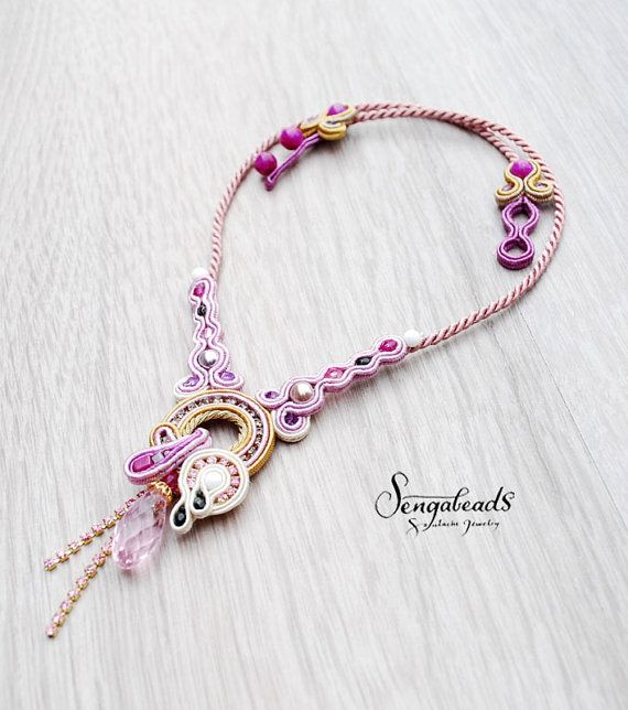 Soutache necklace in orchid purple and golden beige. by Sengabeads
