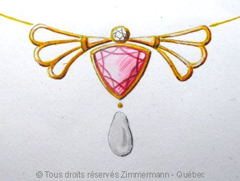 Pendentif or ajouré avec perle, diamant et sertie d'une tourmaline rose.