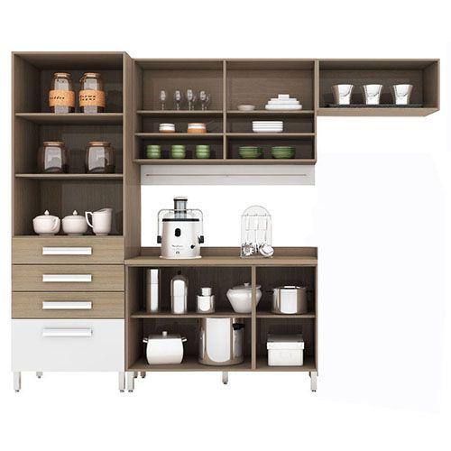 Cozinha Compacta Bartira Carla com 7 Portas e 4 Gavetas