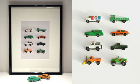 framed toy cars, use a magnet board and you can have storage and art all in one.