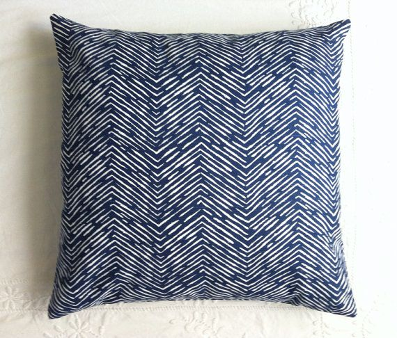 One Navy Herringbone Tweed Style Pillow Cover Fits An 18x18 Pillow Insert Blue Green Pillow Navy Pillow Cover Chevron Pillow Covers