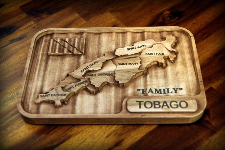 Carved wooden map of Tobago in hardwood maple.