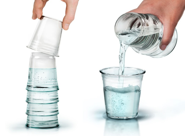H2 Eau: water carafe disguised as a stack of glasses.    http://byleurocha.blogspot.com.au/