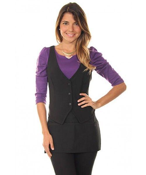 Purple Boat Neck Shirt, Black Vest and Black Apron