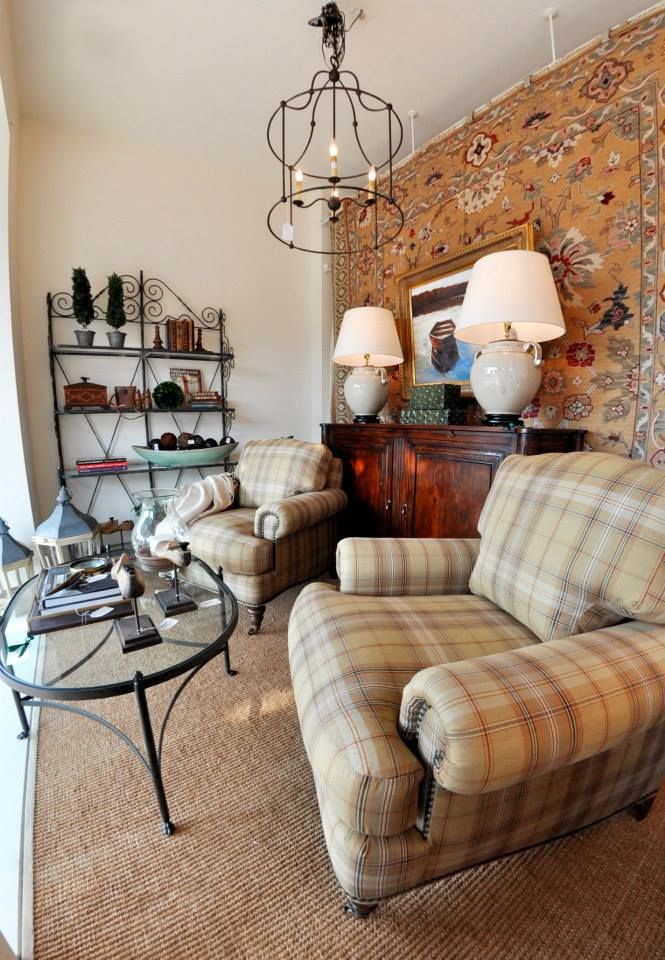 Plaid Upholstered Chairs In A Living Room Vignette As Seen Kelloggfurn Washington DC
