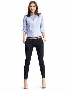 Ankle pants with classic button down