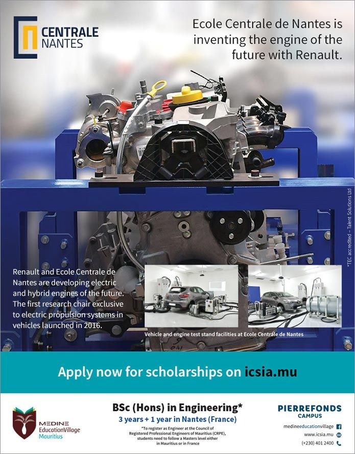 Ecole Centrale de Nantes, Mauritius - BSc (Hons) in Engineering. Tel: 401 2400