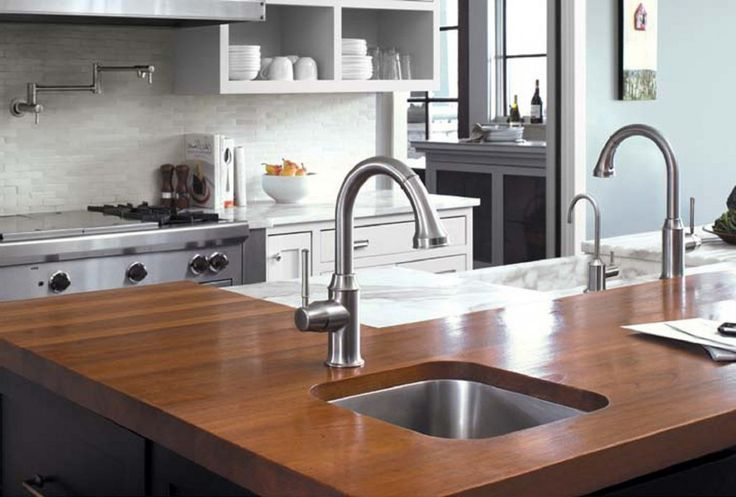 Inspiring Lowes Kitchen Faucets In Modern Design: Hansgrohe Lowes Kitchen Faucets With Single Handle With Wooden Countertop Plus White Lowes Kitchen Cabinet
