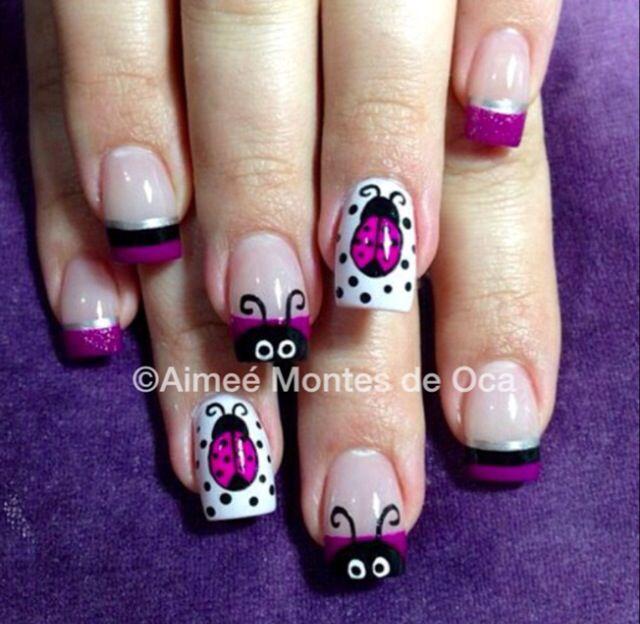 Eek! Pink ladybugs  #nailart