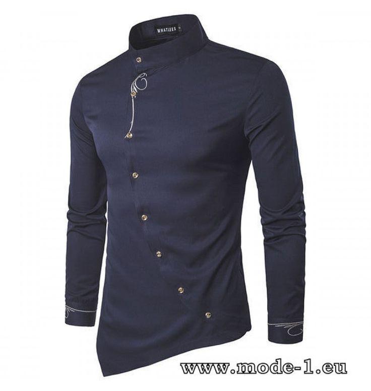 Langarm Herren Hemd mit Stehkragen in Navy Blau