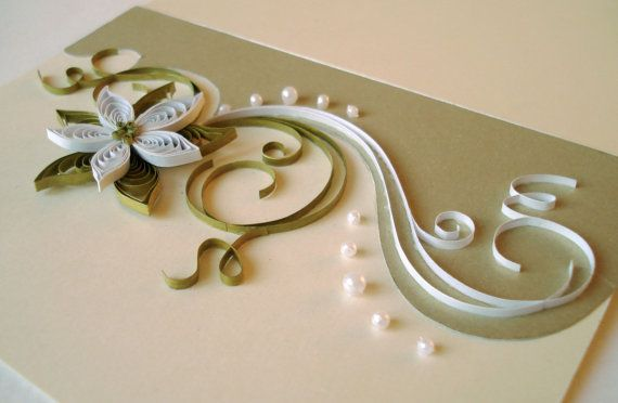 Set of 3 Blank Quilled Handmade Greeting Cards in by TipTopArtShop