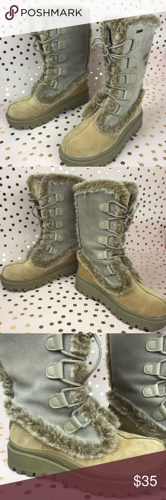 SKETCHERS outdoor womens winter lace up boots 6.5 Sketchers outdoors winter boots. Lace up. Size 6.5 Nice and warm for winter. Suede and faux fur trim. Has some marks on the side. In good condition. Skechers Shoes Winter & Rain Boots