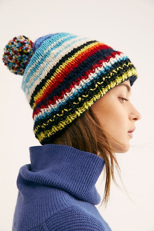 Serape Stripe Cuff Beanie - Rainbow Knit Beanie with Pom Pom - Knit Beanies  - Colorful Beanies - Winter Hats for Women c117ca0853c8