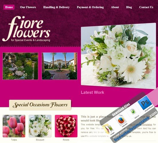 Flower Shop Website Templates : Wedding Flower Shop