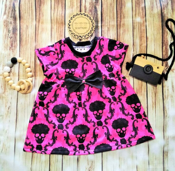 Pink And Black Skull Print Dress