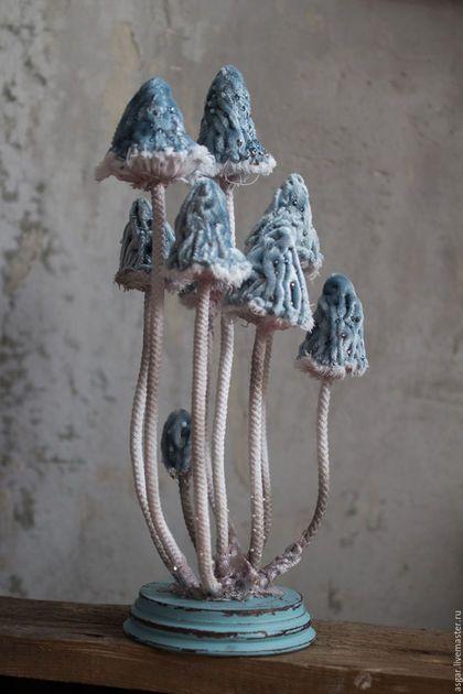 Статуэтки ручной работы. Ярмарка Мастеров - ручная работа. Купить Conocybe apala. Текстильная грибница. Интерьерная композиция. Handmade. Комбинированный