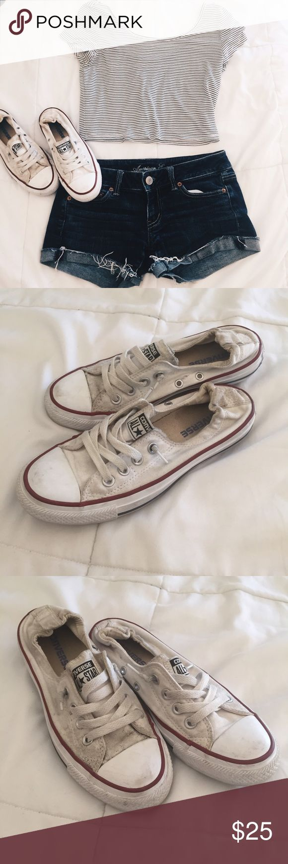 White converse slip ons These white converse cinch in the back so that all you have to do is slip them on. They are a bit dirty so price reflects that bit I'm sure if you now how to clean white shoes they'd be perfect for you! Converse Shoes Sneakers