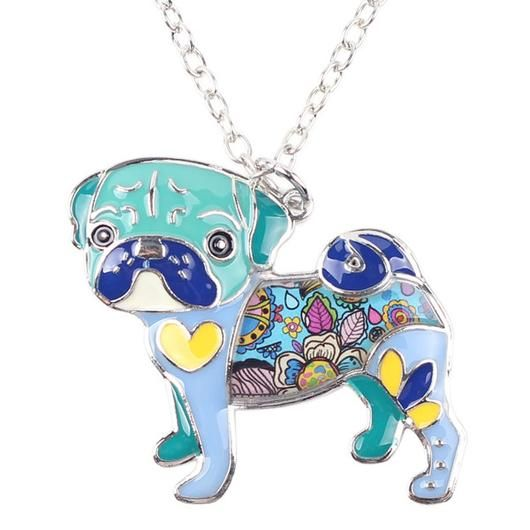 Blue Pug Necklace - Square Berry Co