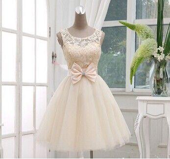 Новый 2014 линии шампанское кружева с коротким стиль принцесса вечернее платье выпускного вечера ну вечеринку платье HS1410131