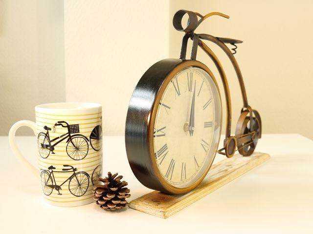 置時計おしゃれ/置き時計おしゃれ/置時計アンティーク/置き時計アンティーク/置き時計木製/置き時計木製北欧/置き時計北欧/置時計インテリア/置き時計アンティーク自転車/置き時計自転車モチーフ/