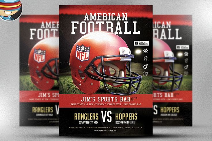American Football Flyer Template 1 by FlyerHeroes on @creativemarket