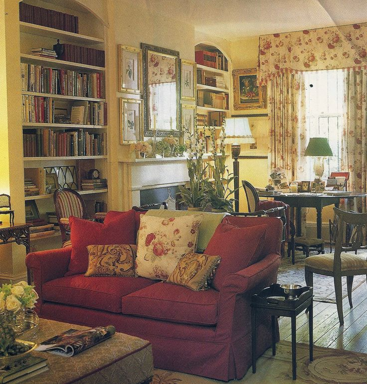 Love this room - bookcase, fireplace, dining table/game table, and overall English feel.  From unmarked magazine page in my collection.