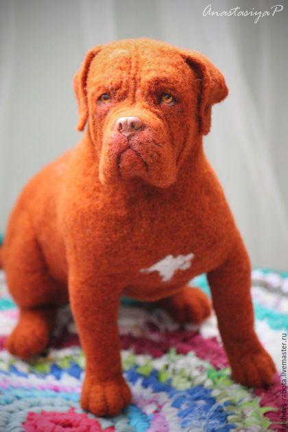 Needle felted sculpture Dog / Игрушки животные, ручной работы. Ярмарка Мастеров - ручная работа. Купить Бордосский дог. Handmade. Рыжий, французский мастиф, пластика