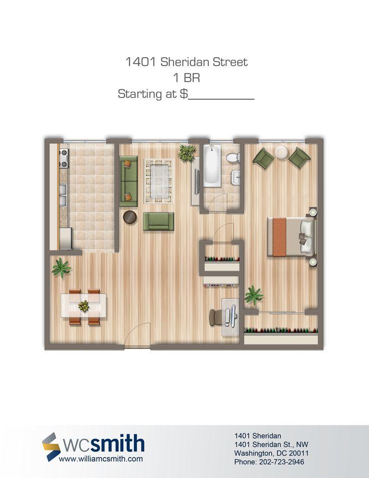 1 Bedroom Floorplan   1401 Sheridan   Apartments in Northwest Washington DC   WC Smith Apartments   Brightwood Rentals