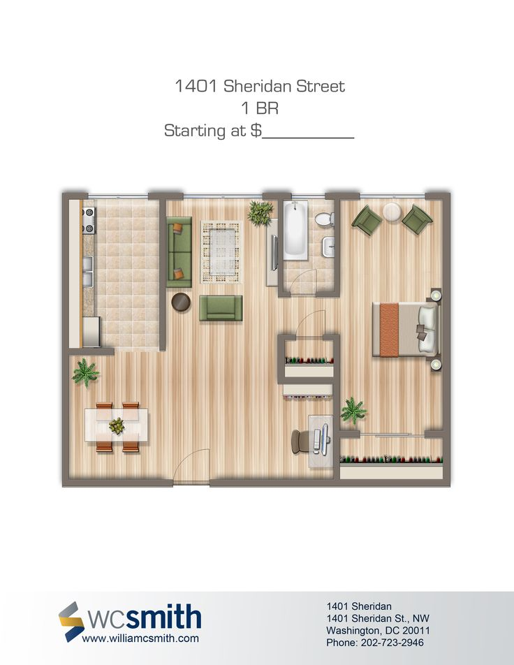 1 Bedroom Floor Plan   1401 Sheridan   Apartments in Northwest Washington DC    WC Smith. 1000  images about Dc on Pinterest   Virginia  Parks and Twin