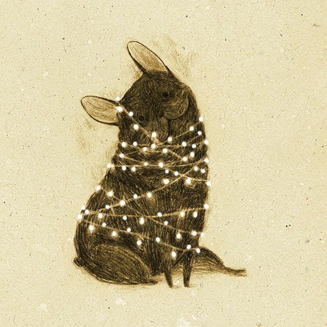 Happy holidays! I hope they're as merry and bright as this dog wrapped in lights #Illustration by Monica Barengo