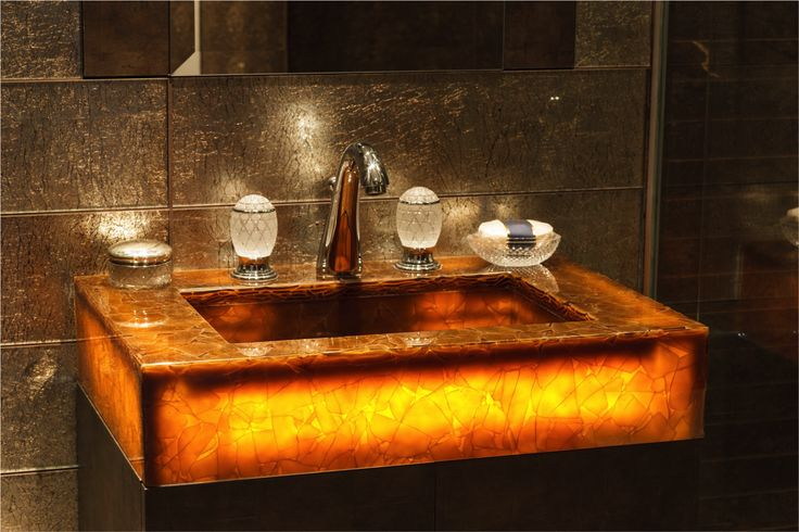Recycled Glass Vanity with lighting - Amber