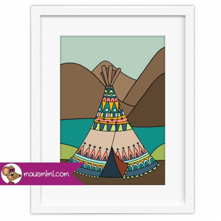 Poster Indianer Tippi Zelt Berge in 2020 Tippi zelt