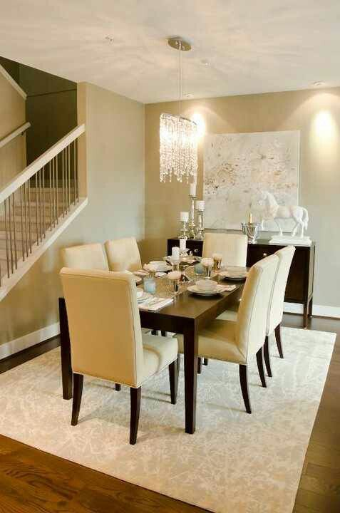 Silver White And Espresso Dinning Room