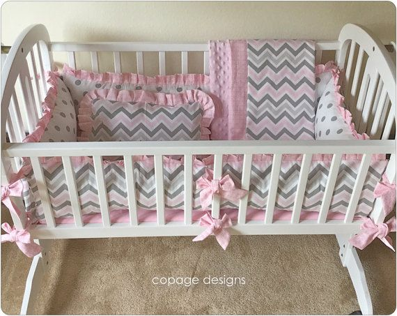4-PIECE SET PINK & GRAY CHEVRON BABY NURSERY CRADLE BEDDING Includes: cradle bumper pads, baby blanket, fitted sheet, and accent pillow  ITEM