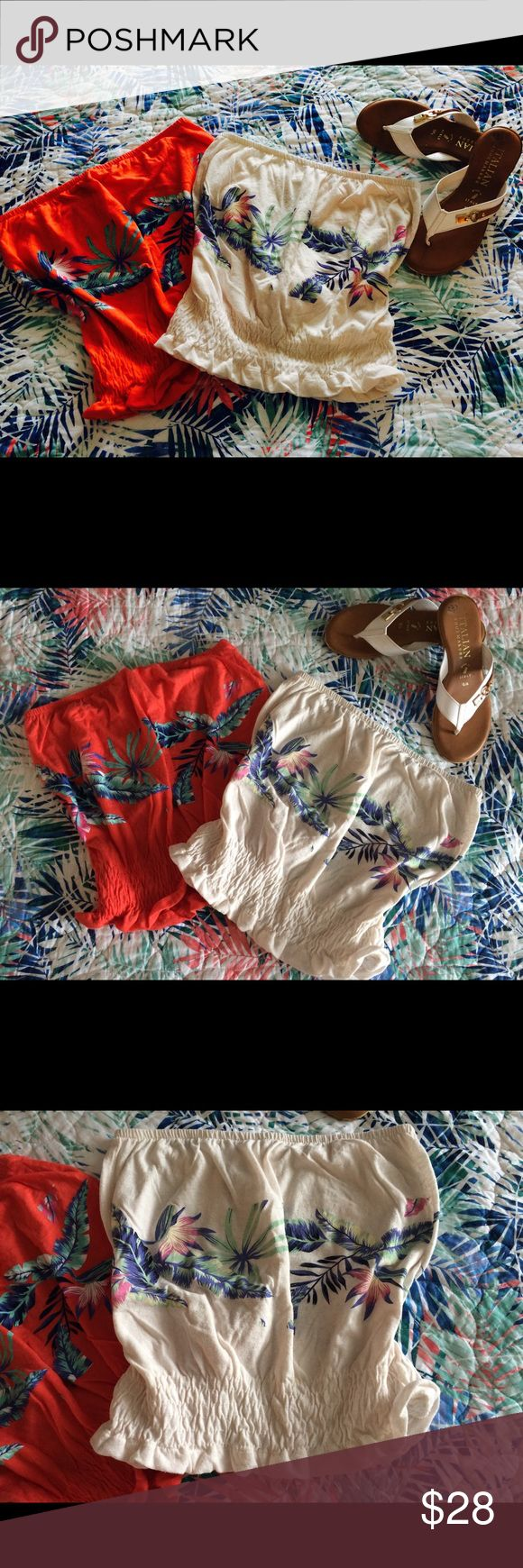 NWOT Roxy Palm Leaf Tube Top Bundle NWOT Roxy tune top bundle featuring a gorgeous palm leaf print. These are sold out from Nordstroms and are in perfect condition. They are both alluring and cute and can be paired with cutoffs for a casual look or a flowy skirt for a night out on the beach. One comes in a beautiful cream color with the other in a bright orange coral hue. You will love walking the ocean sands or mountain walk ways with these versatile tops. Do not miss out on these gorgeous…