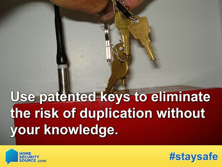 Home Security: Do you know who has a key to your home? Make sure to only lend patent keys to deter from keys being copied without your knowledge. For more home security tips, visit: HomeSecuritySource.com