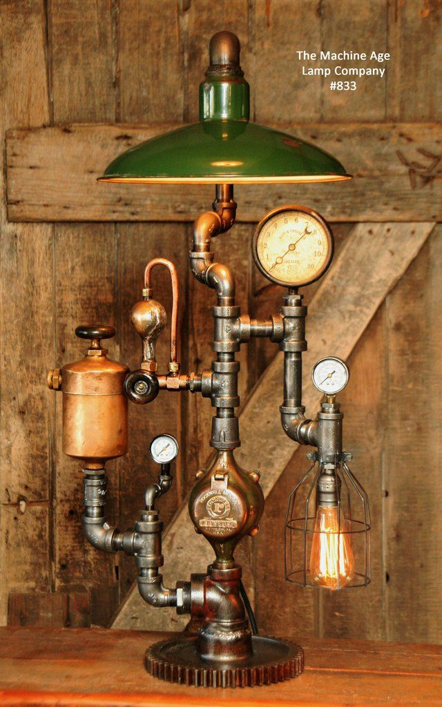 Steampunk Industrial Lamp, Vintage Oiler & Green Shade #833