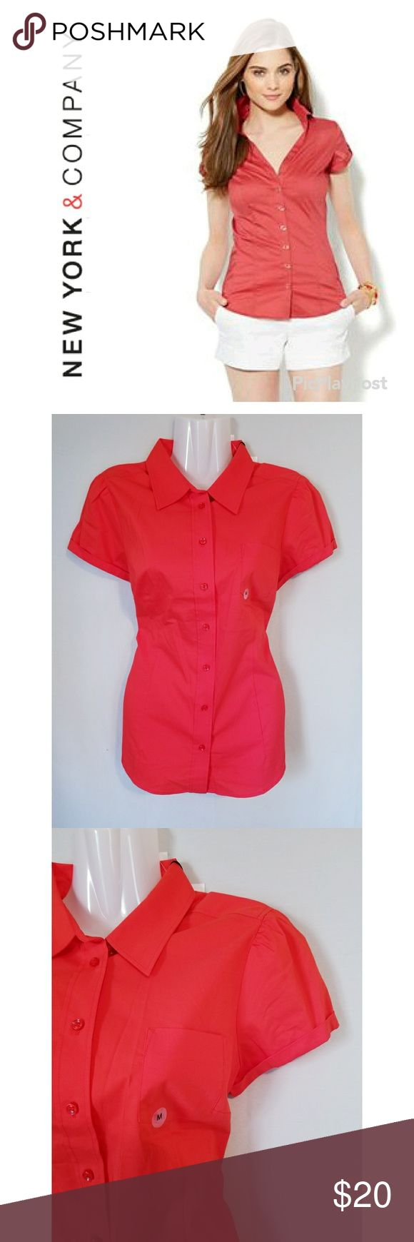 "NY&Co Pumpkin Spice Madison Shirt New York & Company brand orange ""The Madison"" short sleeve shirt. New with tags. Perfect for this fall season!   Approximate measurements (laying flat): Bust - 34"" Length - 27"" New York & Company Tops Button Down Shirts"