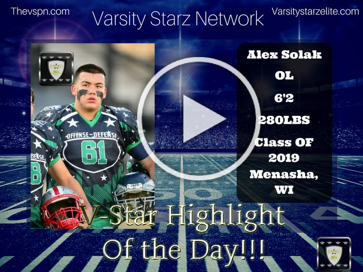 "Alex ""The Hulk Solak"" -  Varsity Starz Highlight Of the Day!!        #alex solak #Elite #Highlight Of The day #HS Football #Midwest #OL #Varsity Starz #Varsity Starz Network #Varsity Starz News #Varsity Starz Player Network"