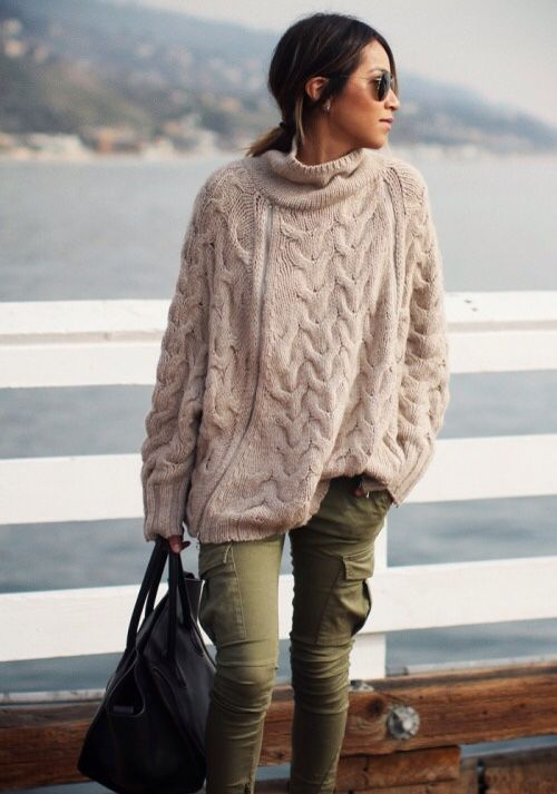 Love this sweater with the skinny cargos.