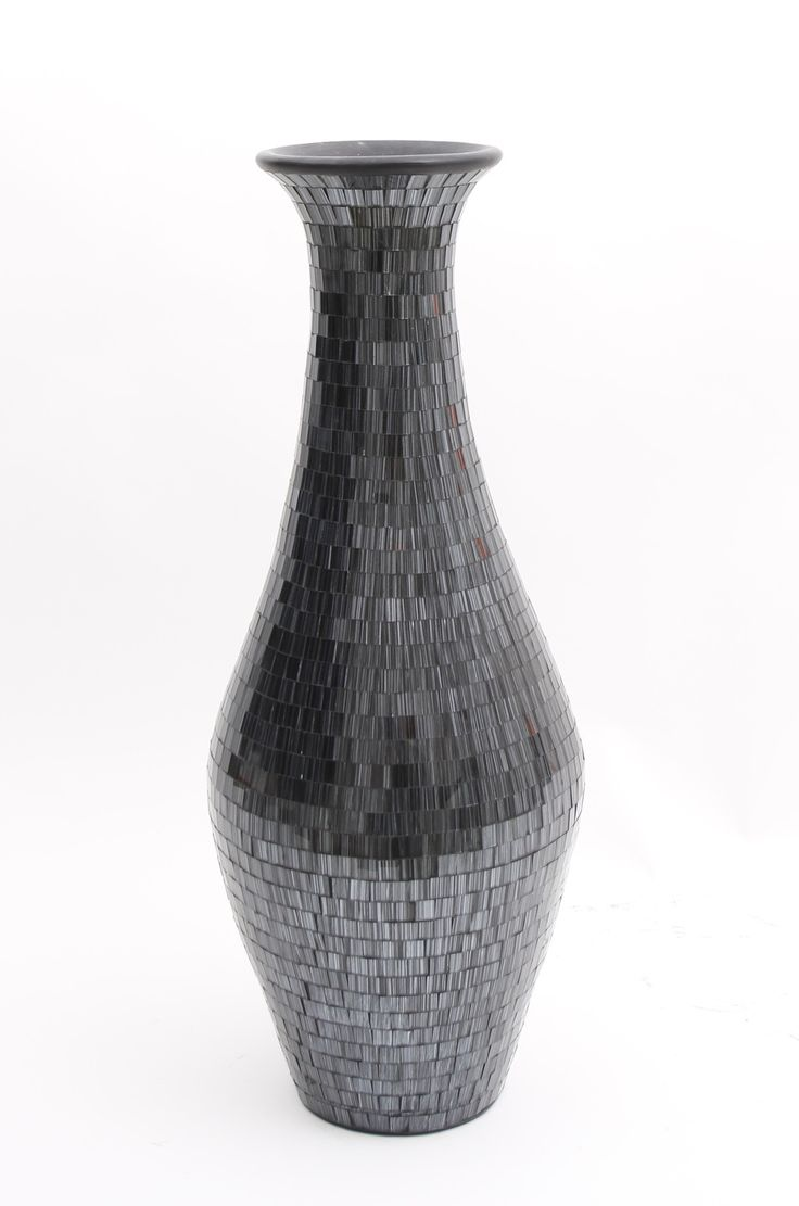 Tall Floor Vase With Glass Mosaic 80 Cm Ceramic Black