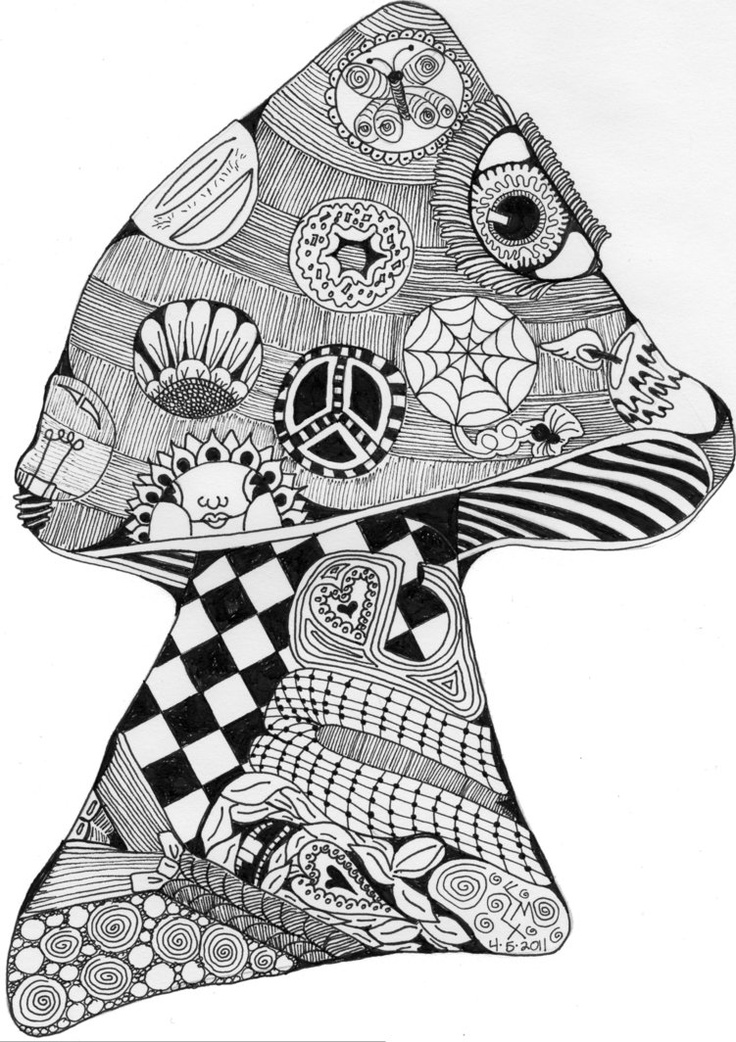 41 best images about Zentangle Mushrooms on Pinterest