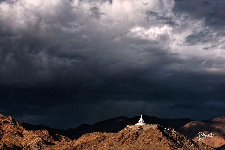 Shanti Storm  Follow my Instagram for more! A monsoon storm is approaching to the Shanti Stupa close to Leh in Ladakh, North of India.  For more photos follow me on instagram @riccardo_mantero