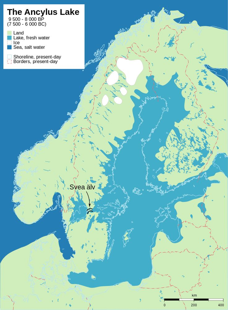 The Ancylus Lake of 9,500 to 8,000 years before present (7,500 to 6,000 BCE) The map shows a post glacial rebound and shore displacement of the Baltic Sea
