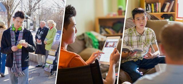 Um jovem pega um folheto num carrinho de testemunho, acessa o site jw.org e estuda a Bíblia