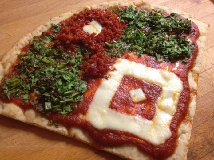 Phillies pizza Twitter user @rynomite57 shared this appetizing pic of a Phillies-inspired pizza.