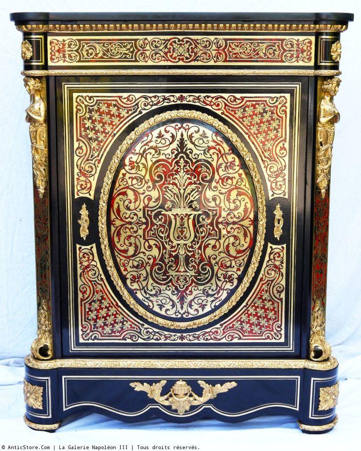 Meuble d'appui à une porte en marqueterie Boulle Napoléon III - AnticStore Antiquités 19ème siècle - Réf.32727