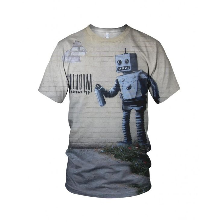 """Tagging Robot, from the collection of """"Hand Printed"""" Designs by the prolific street artist known as """"Banksy"""".   More Designs and Styles on the Store: http://www.globalmusicollective.com/store/?product_cat=banksy"""