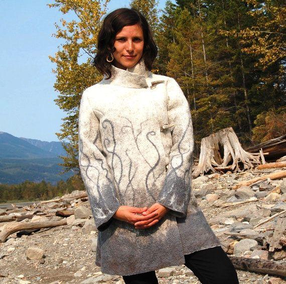 Winter Wind - Wet Felted Coat - Merino Wool and Tussah Silk Fibers